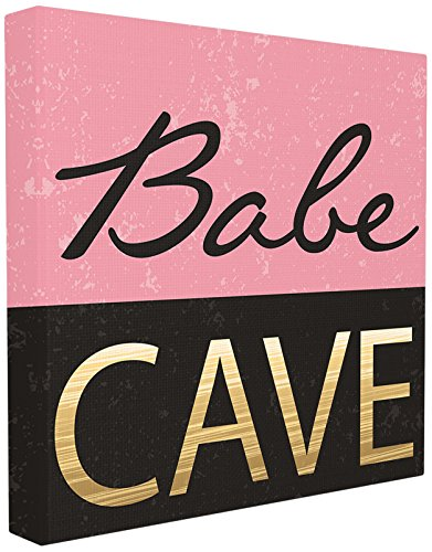 Stupell Industries Babe Cave Pink and Gold Stretched Canvas Wall Art, Proudly Made in USA von The Stupell Home Decor Collection
