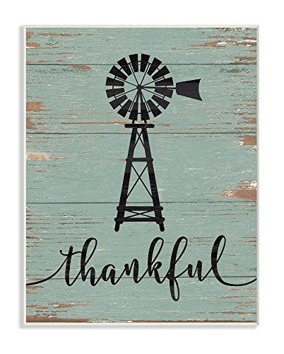 Stupell Industries Thankful Vintage Windmill Wall Plaque Art, Proudly Made in USA von The Stupell Home Decor Collection