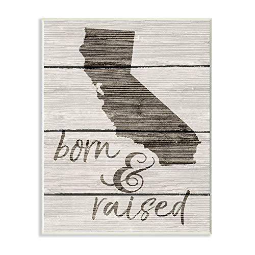 The Stupell Home Décor Collection Wandschild Born and Raised, California, Holz, Mehrfarbig, 25.4 x 1.27 x 38.1 cm von The Stupell Home Décor Collection