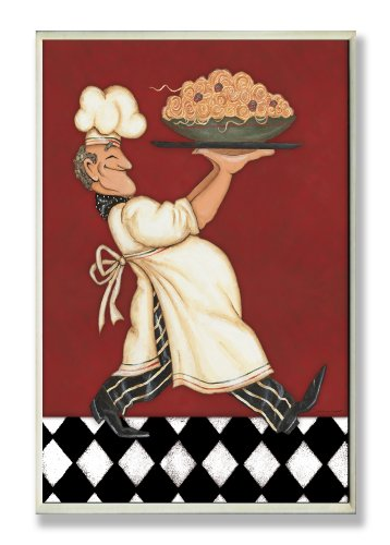 The Stupell Home Decor Collection Wandschild Chef with Pasta, Rot von The Stupell Home Decor Collection