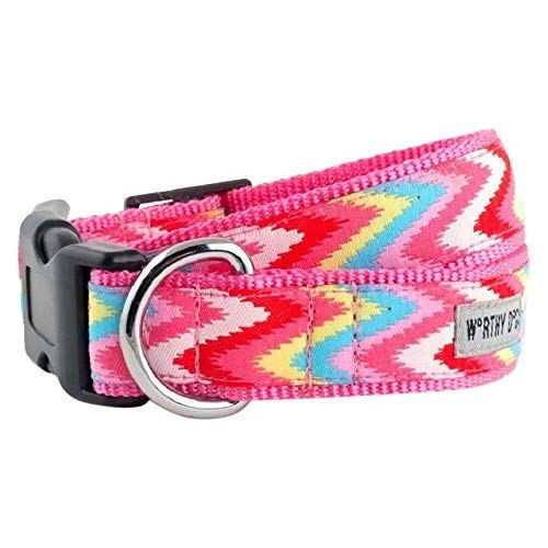 The Worthy Dog Statische Chevron Pink Halsband, Pink, XS von The Worthy Dog