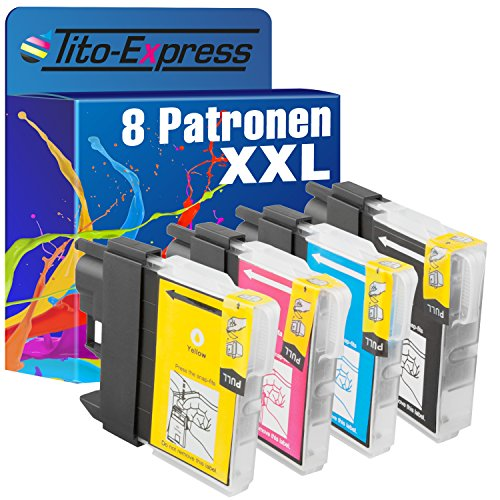 Tito-Express PlatinumSerie 8X Patrone XXL mit Chip kompatibel mit Brother LC985 DCP-J 125 DCP-J 140 W DCP-J 315 W DCP-J 515 W von Tito-Express