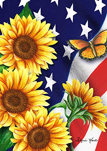 Toland Home Garden 1012204 American Sunflowers 28 x 40 Inch Decorative, Patriotic Flowers and Butterflies, House Flag von Toland Home and Garden