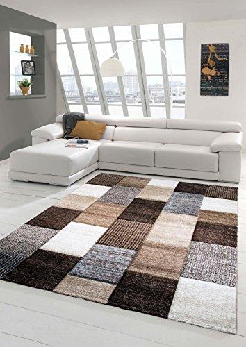 Hervorragend Designer Teppich Moderner Teppich Wohnzimmer Teppich Kurzflor Teppich Mit  Konturenschnitt Karo Muster Braun Grau Cream Taupe Größe 80x150 Cm