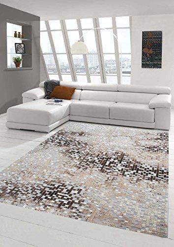 Teppich Traum Designerteppich Moderner Teppich Wohnzimmerteppich Kurzflor  Teppich Mit Konturenschnitt In Grau Braun Beige, Größe 120x170 Cm