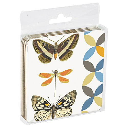 Tree-Free Greetings EC96791 Eco Coaster Set in Acrylic Box, 3.5 x 0.1 x 3.5, Butterfly and Dragonfly von Tree-Free Greetings