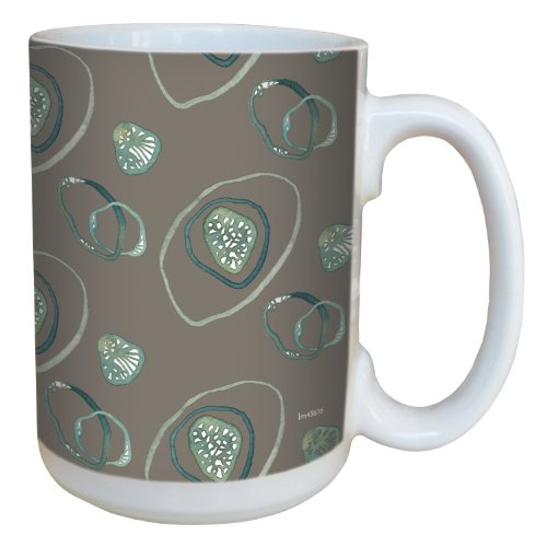 Tree-Free Greetings lm43616 Contemporary Bio Swirls on Sand by Shell Rummel Ceramic Mug with Full-Sized Handle, 15-Ounce, Multicolored von Tree-Free Greetings