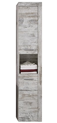 trendteam smart living Badezimmer Bad Hochschrank Cancun Boom, 36x184x31 cm in Weiss Canyon Pinie Shabby Chic Retro (Nb.) mit offenem Fach von trendteam smart living