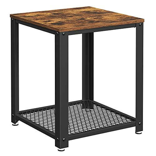 VASAGLE Industrial End Table, 2-Tier Side Table with Storage Shelf, Sturdy, Easy Assembly, Wood Look Accent Furniture, with Metal Frame, Rustic Brown ULET41X von VASAGLE