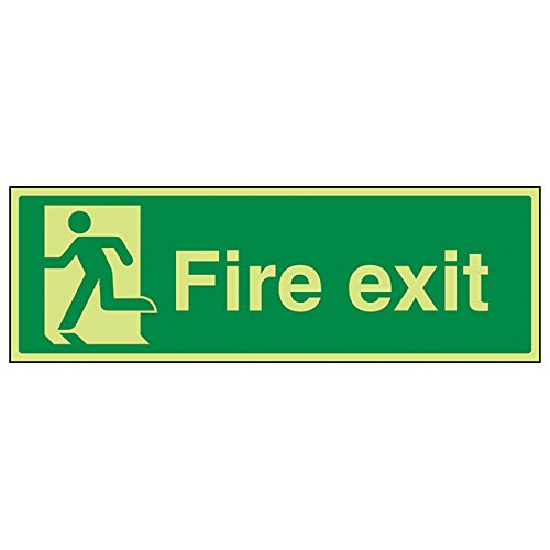 "vsafety 14010bj-g""Final Fire Exit Man links"" Sign, Glow In Dark, 1 mm Kunststoff, Landschaft, 450 mm x 150 mm, grün von VSafety"