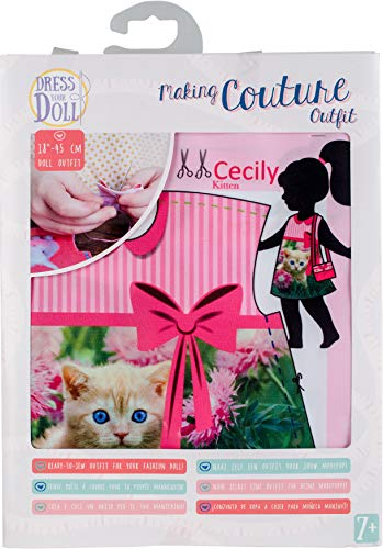 Vervaco Cecily Kitten Couture Outfit Making Set, Polyester, Suitable for an 18in (45cm) doll von Vervaco