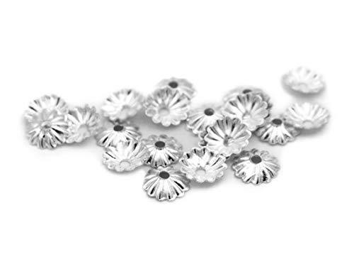 halbschalen Perlkappen als Dahlie in silberfarben 100 Stück von Vintageparts