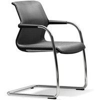 Vitra - Unix Chair Freischwinger - basic dark - Diamond Mesh 24 soft grey - indoor von Vitra