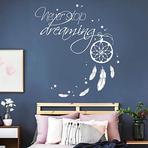 55 cm hoch x 77 cm breit Wandtattoo Traumf/änger mit Rosen V/ögeln und Federn//pink