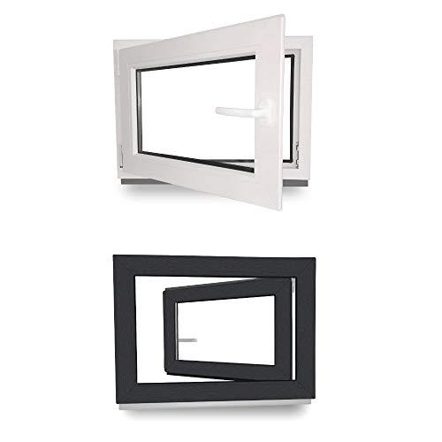 BxH: 85 x 45 cm Kunststoff wei/ß 3-fach-Verglasung Fenster DIN links Kellerfenster Lagerware