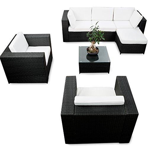 Polyrattan Lounge Sessel Schwarz ~ LoungeSets und andere Gartenmöbel von XINRO® Online kaufen bei