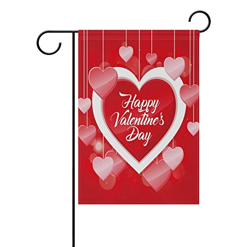 ALAZA Happy Valentinstag Polyester Garten Flagge Haus Banner 30,5 x 45,7 cm, Zwei-seitige Welcome Yard Dekoration Flagge für Hochzeit Party Home Decor 12x18(in) Multi von alaza