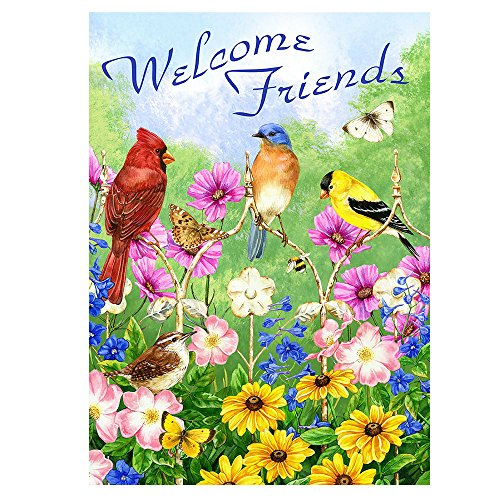 Alaza Welcome Friends Vögel Blumen Schmetterling doppelseitig Garten Yard Flagge 30,5 x 45,7 cm Sommer Spring Flowers Daisy Kolibris Dekorative Garten Flagge Banner für Outdoor Home Decor Party 12x18 multi1 von alaza