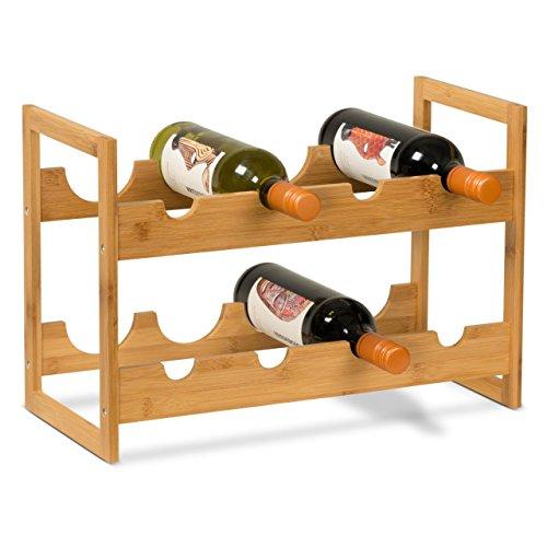 Weinständer Weinregal VITIS aus Bambus Maße: 47x22x32 cm Weinflaschenhalter Flaschenregal