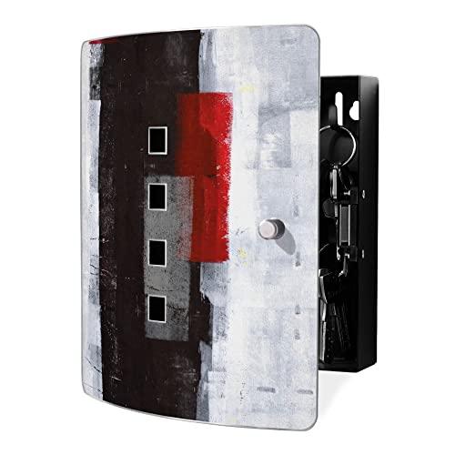 24x21,5cm Motiv Roter Vorhang banjado Design Schl/üsselkasten aus Edelstahl 10 Haken f/ür Schl/üssel praktischer Magnetverschluss