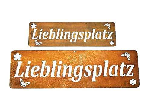 verrostetes Garten-Metallschild zum Hängen Lieblingsplatz-ulkig und Originell