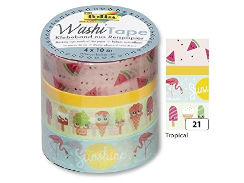 folia 26421 Deko-Klebeband Washi-Tape TROPICAL, 4er Set von folia