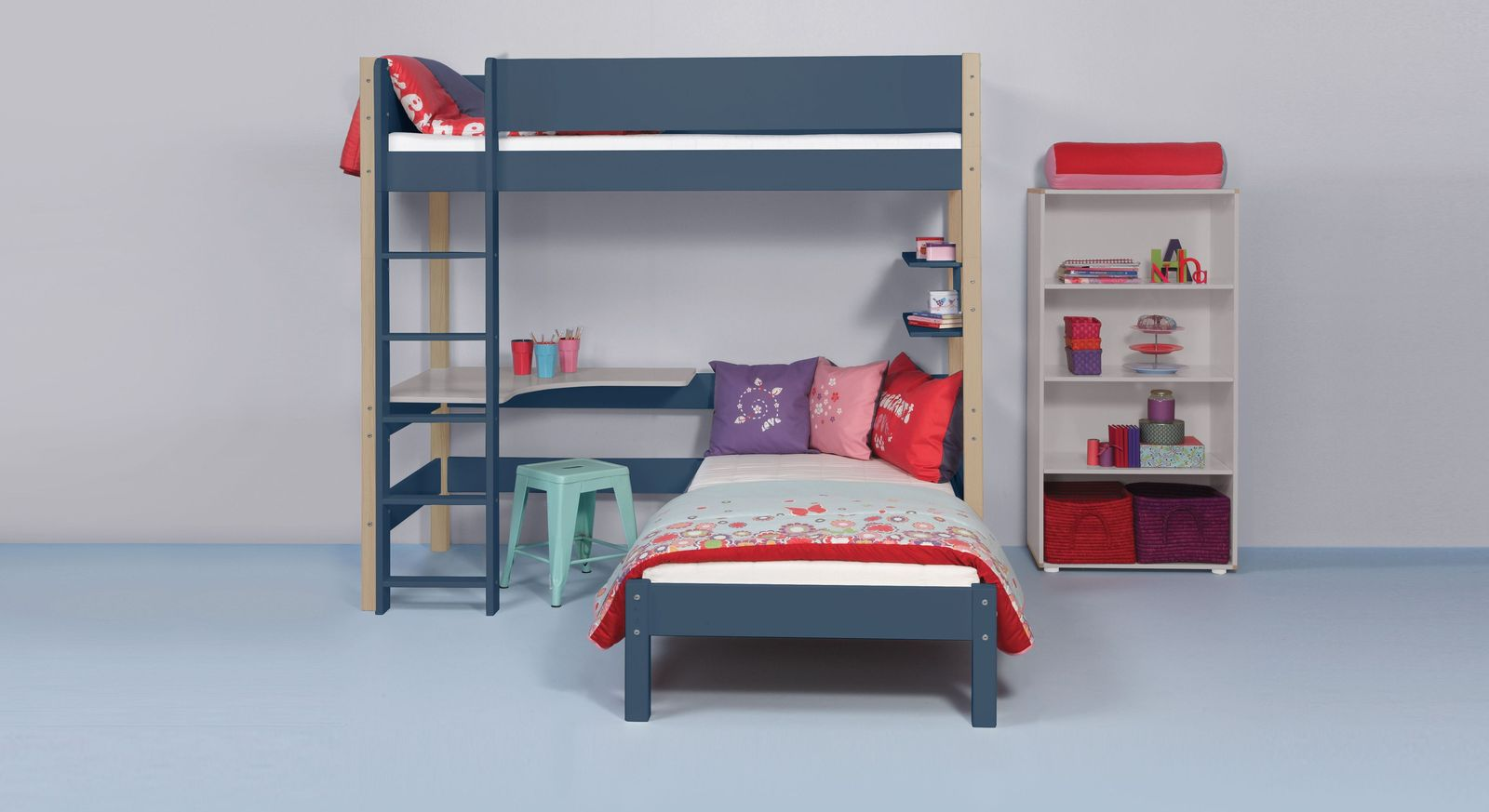 Eck-Etagenbett in grau 90x200 cm - Kids Town Color