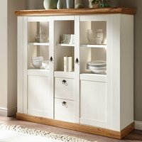 Landhaus Highboard LINARES-61 in Pinie weiß / Wotan Eiche Nb. inkl. LED - B/H/T: 148/139/44cm
