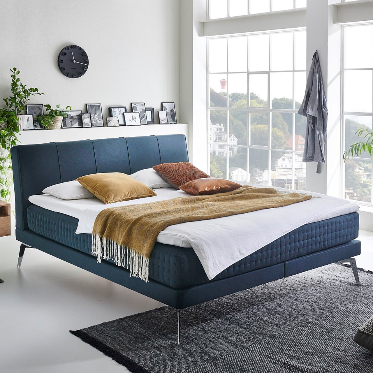 Minimum Collection Boxspringbett Nightflight Mantra Petrol 160x200 H2 ohne Topper Vertikalsteppung