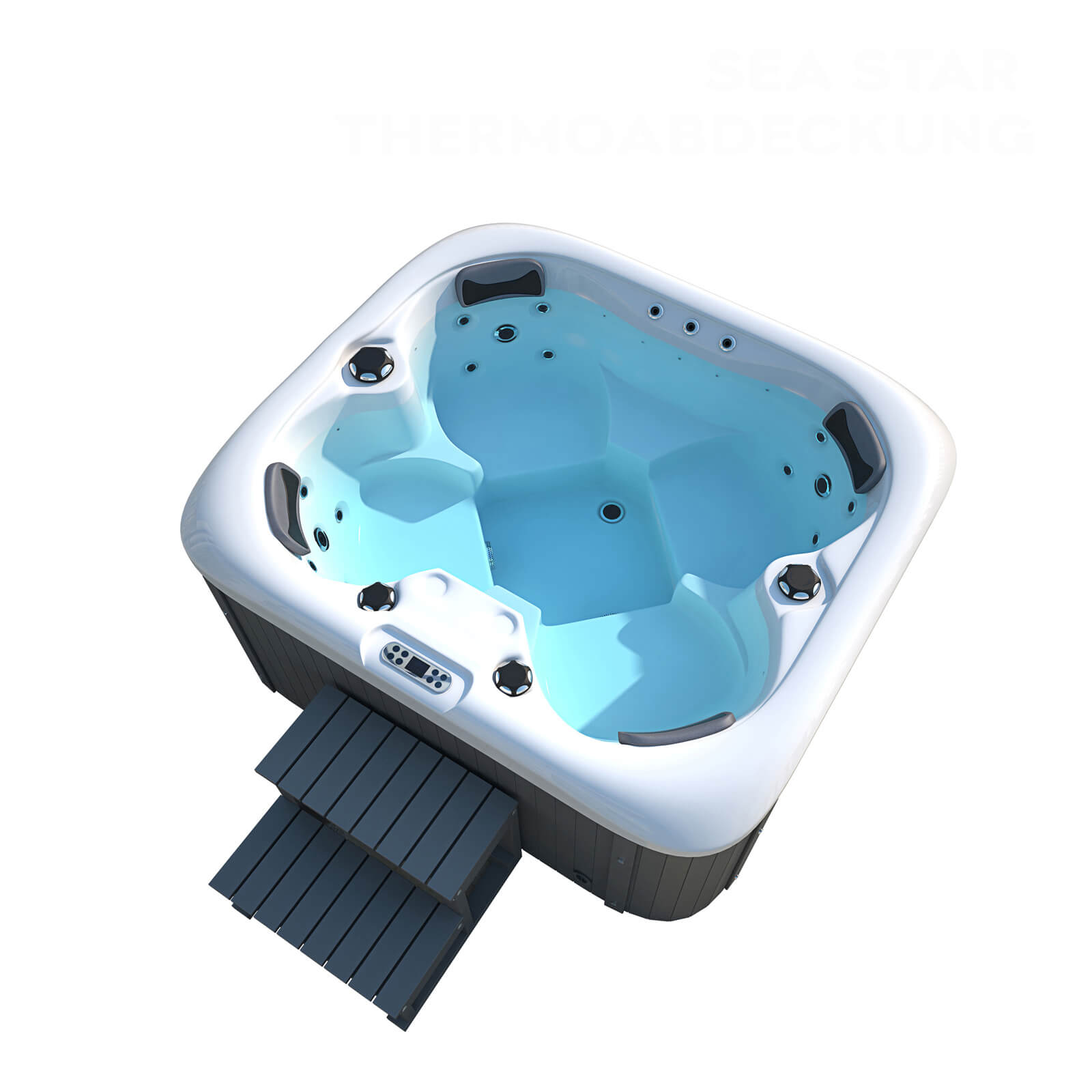 Outdoor Whirlpool Sea Star plus Treppe und Thermoabdeckung