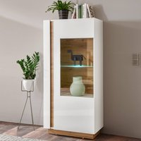 Vitrine LED-Highboard CELLE-61 in Hochglanz weiß mit Abs. Grandson-Oak Eiche Nb., B/H/T ca. 72/154/40 cm