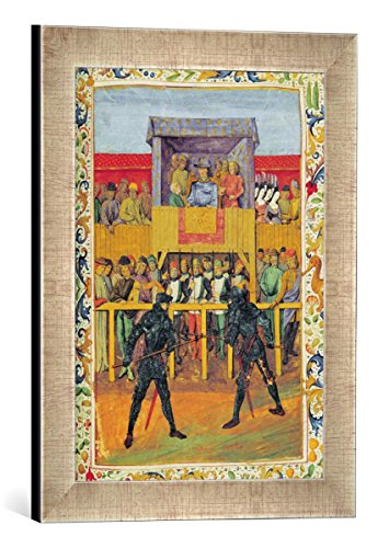 Gerahmtes Bild von French School A Tournament of Hand-to-Hand Combat, from 'Le Jouvencel' by Jean de Bueil, Kunstdruck im hochwertigen handgefertigten Bilder-Rahmen, 30x40 cm, Silber Raya von kunst für alle