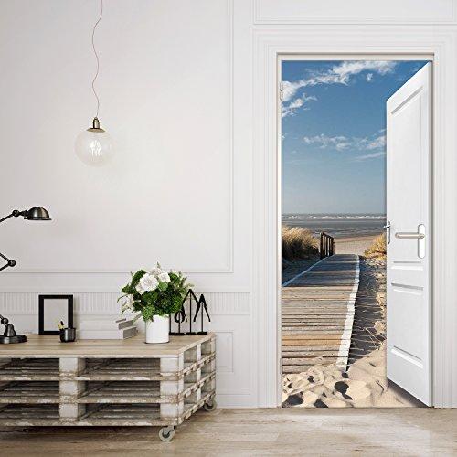 Türtapete ,,Beach Door TT3u0027 86cm X 200cm Tür Ausblick Meer Ozean Strand  Dünen Steg Ocean Way Ostsee Nordsee Fototapete Inklusiv Kleister