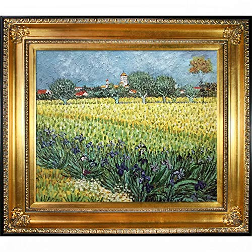 Gold with Black Edge overstockArt View of Arles with Irises with Regency Gold Frame Painting