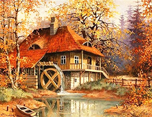 sunnymi 5D Diamant Stickerei Full Drill Regenbogen Bäume DIY Diamond Painting Dekoration (Gold Herbst Haus 30 * 40cm) von sunnymi