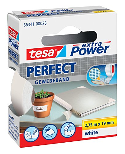 tesa® extra Power Perfect Gewebeband (2,75m x 19mm / 3er Pack, weiß) von tesa
