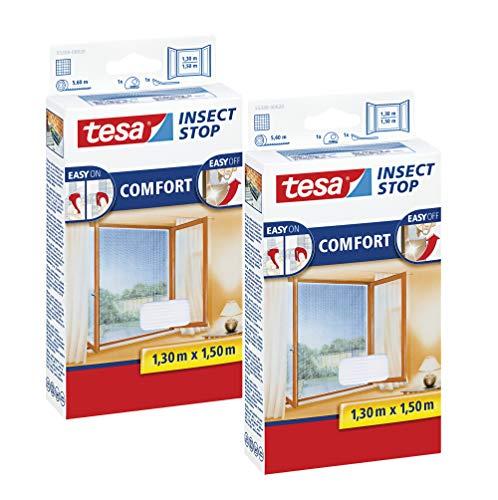 Fliegen Netz ohne Bohren Insektenschutz mit Klettband selbstklebend 100 cm x 100 cm, 3er Pack//Wei/ß Leichter Sichtschutz tesa Insect Stop COMFORT Fliegengitter Fenster