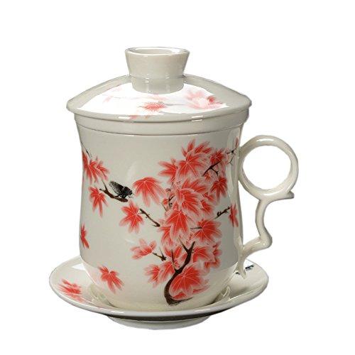 Jingdezhen Blau Und Wei/ß Porzellan Tee Becher Set Mit Filter Und Untertasse 300Ml F/ür Geschenk Und Haushalts-B/üro Chinesische Landschaftsmalerei Keramik Tee Tassen