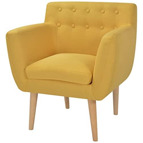 Festnight Armsessel Wohnzimmer Sessel Relaxsessel Polstersessel Holzrahmen  Stoffpolsterung 67x59x77cm Für Wohnzimmer Schlafzimmer   Gelb