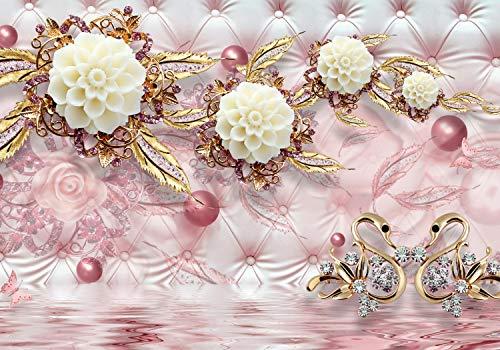 Fototapete rot perlen Blumen Diamanten Seidentuch Blumenranke Gold Silber Schmet