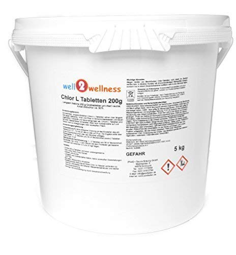 well2wellness Chlor L Tabletten 200g - langsam lösliche Chlortabletten a 200g mit 90% Aktivchlor, 5,0 kg von well2wellness