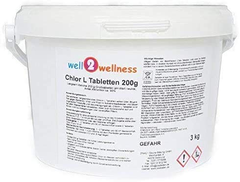 well2wellness Chlor L Tabletten 200g - langsam lösliche Chlortabletten a 200g mit 90% Aktivchlor 3,0 kg von well2wellness