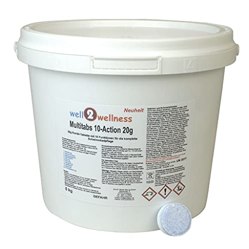 well2wellness Chlortabletten Pool Chlor Multitabs 10-Action 200g mit 10 Funktionen - 10 kg (2 x 5,0 kg) von well2wellness