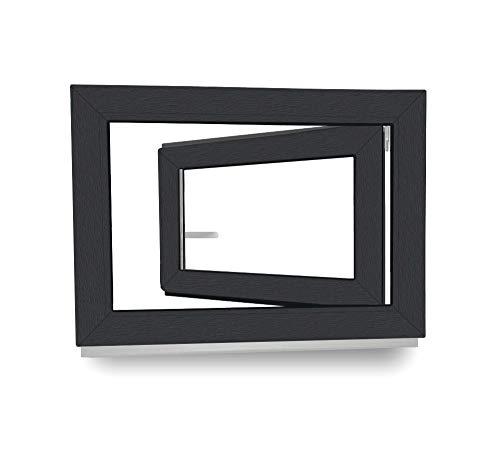 3 fach Verglasung Fenster Kunststoff BxH: 100 x 60 cm Kellerfenster innen wei/ß//au/ßen nussbaum 1000 x 600 mm DIN Rechts 60 mm Profil